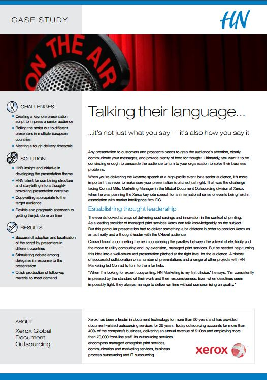 Keynote Speech Writing - Xerox